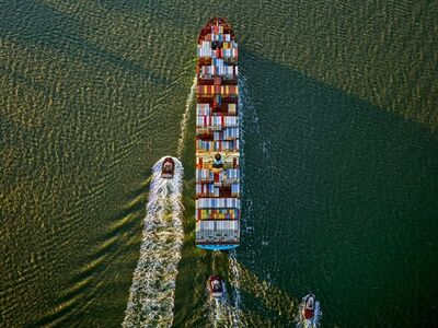 Jeffrey Milstein, 'Container Ship and Tugs, Upper Bay, NY', 2019