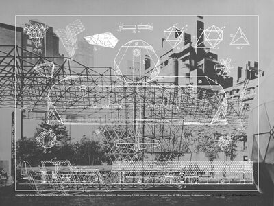 R. Buckminster Fuller, 'Synergetic Building Construction - Octetruss. (Fuller in sculpture garden, MoMA)', 1981