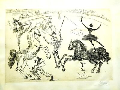 Salvador Dalí, 'Salvador Dali - Chinese - The Circus - Rare Parchment Hand-Signed Etching', 1965