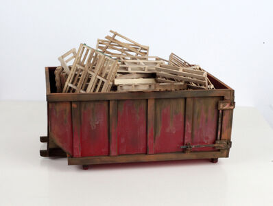 Drew Leshko, 'Large Red Dumpster with 30 pallets'