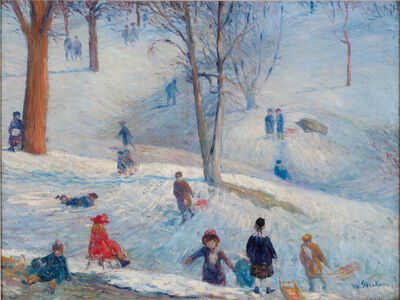 William James Glackens, 'Sledding in Central Park', 1912
