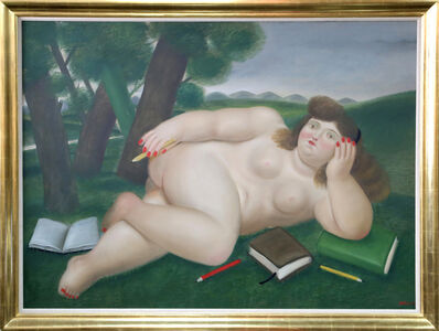Fernando Botero, 'Reclining Nude with Books and Pencils on Lawn', 1982