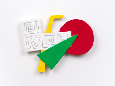 William Slowik, 'Pathos (Red, green, yellow w/Stella-like drawings on white)', 2012
