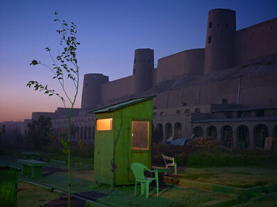 Simon Norfolk, 'A Security Guards Booth at the Newly Restored Ikhtiaruddin Citadel, Herat', 2010