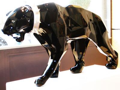 Richard Orlinski, 'Wld neck panther, black'
