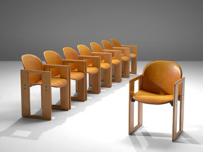 Afra & Tobia Scarpa, 'Set of 8 Dialogo Dining Chairs in Leather ', 1974