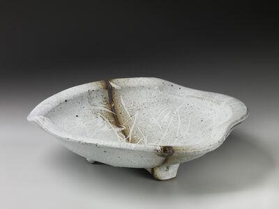 Randy Johnston, 'Undulated bowl with lip, nuka glaze with iron slip and wax resist brushwork'