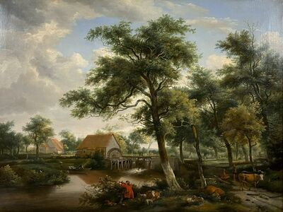 British School, 18th century, 'Exceptional Large English Countryside Landscape with Figures and Animals', 18th Century