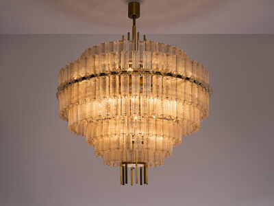 Unknown, 'Very Large Circular Chandelier in Brass and Structured Glass', ca. 1970s
