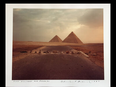 Richard Misrach, 'Road Blockade and Pyramids', 1989