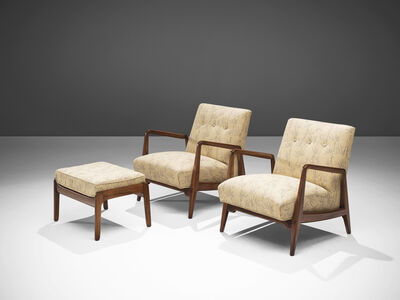 Jens Risom, 'Jens Risom Set of Two Lounge Chairs with Ottoman', ca. 1960