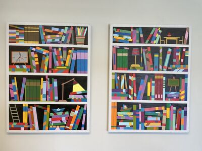 Eitan Satat, 'Book shelf Dyptich - abstract painting', 2020