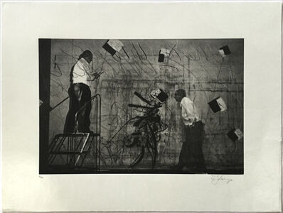 William Kentridge, '2 Kentridges with Flying Papers', 2010