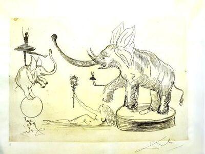 Salvador Dalí, 'Salvador Dali - Elephants - The Circus - Rare Parchment Hand-Signed Etching', 1965