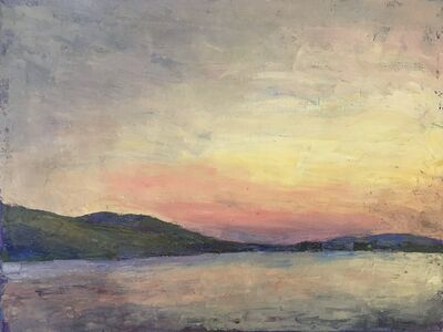 "Larry Horowitz, '""Lake"" oil painting of a lake with hills and an orange and yellow sunset behind', 2020"