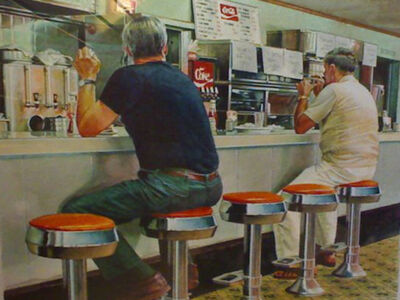 Ralph Goings, 'Two Men at Diner', 1985