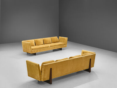 Edward Wormley, 'Edward Wormley for Dunbar Pair of Large Split-Arm Sofas in Yellow Upholstery', 1960s