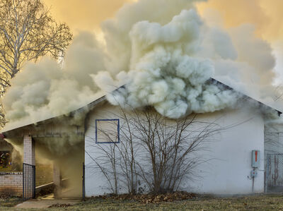 Mark Power, 'Fire in a former elementary school.', 2018