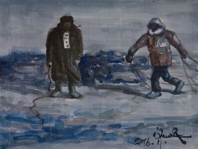 Feng Liu, 'Fisherman On Ice Lake', 2016