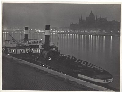 Jenő Dulovits, 'Boat with the Hungarian Parliament in the Background', ca. 1930