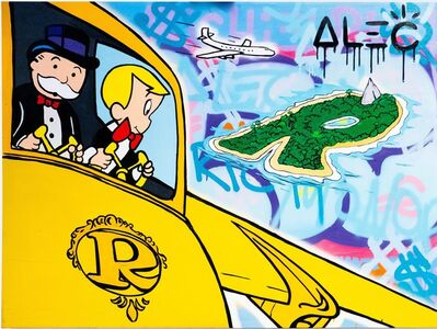 Alec Monopoly, 'Monopoly and Richie flying over the Island ', 2020