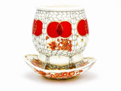 "Melanie Sherman, 'Cup with Saucer Set ""Red"" with red Flowers', 2018"