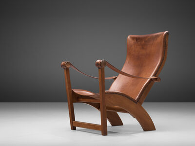 Mogens Voltelen, ' 'Copenhagen Chair' in Original Patinated Leather', 1936