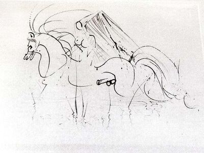 Salvador Dalí, 'Salvador Dali - Nude Riding - Original Etching on Silk', 1968