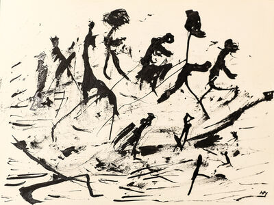 "Henri Michaux, 'Untitled (""People on paysage"" serie) , hm 7830, Collection Luigi Moretti, Roma', executed between 1950-52"