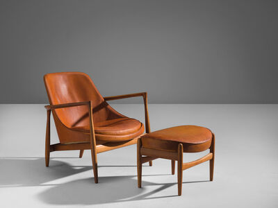 Ib Kofod-Larsen, ''Elizabeth' Chair in Original Cognac Leather with Ottoman', 1956