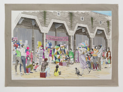 Charles Avery, 'Untitled (Side Show with spectators, Onomatopoeia City Wall)', 2021