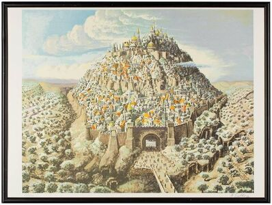 Nahum Gilboa, 'Jerusalem City of David Fantastic Realism Israeli Signed Lithograph', 1970-1979