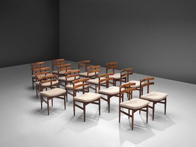 Poul Hundevad, 'Large Set of Fourteen Dining Chairs in Rosewood, Denmark', 1960s