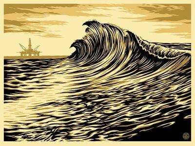 Shepard Fairey, 'Dark wave canvas', 2017