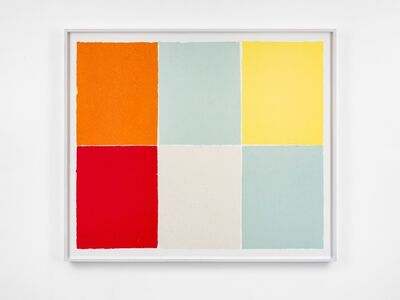 Ethan Cook, 'Two Baby Blues, White, Yellow, Red, Orange', 2020