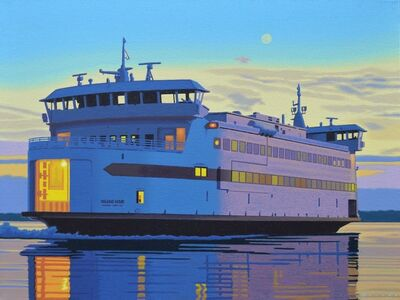 """Rob Brooks, '""""Late Boat"""", photorealist oil painting of ferry boat at sunset to Martha's Vineyard', 2020"""