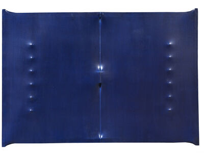 Enrico Castellani, 'Superficie blu scuro', 1963
