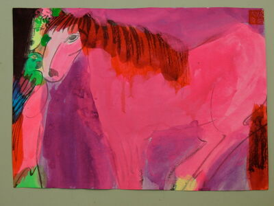 Walasse Ting 丁雄泉, 'Pink/red horse and woman,', ca. 1989