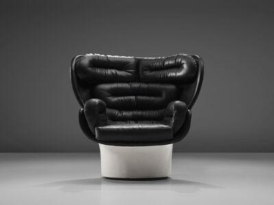 Joe Colombo, 'Joe Colombo 'Elda' Black Leather Lounge Chair', 1960s