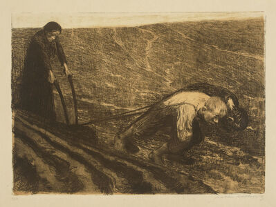 Käthe Kollwitz, 'Plowmen and Woman', 1902