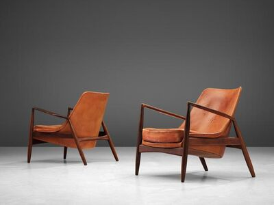 Ib Kofod-Larsen, 'Set of Seal Chairs in Original Leather', 1956