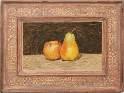 Robert Kulicke, 'Pear and Apple Against a Black Background', 1957