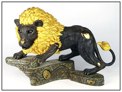 Jiang Tiefeng, 'Jiang Tie Feng Golden King Lion Bronze Sculpture Signed Chinese Animal Large Art', 1995