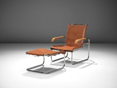 Marcel Breuer, 'Cognac Leather Lounge Chair with Ottoman ', 1928