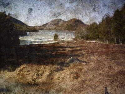 Abelardo Morell, 'Tent Camera Image On Ground: View Of Jordan Pond And The Bubble Mountains, Acadia National Park, Maine, March', 2010
