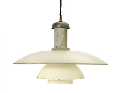Poul Henningsen, 'PH-6/5. Patinated pendant with partly painted top cover and bayonet socket house, shades of white copper.'