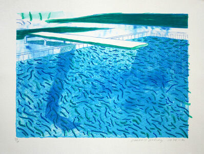 David Hockney, 'Lithograph of Water Made of Thick and Thin Lines, a Green Wash, a Light Blue Wash, and a Dark Blue Wash', 1978-1980