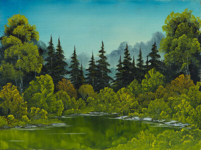 Bob Ross, 'Bob Ross Meadow Lake Signed Original Painting Contemporary Art', 1982