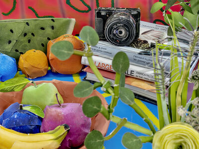 Daniel Gordon, 'Books with Camera and Fruit, 2020', 2020