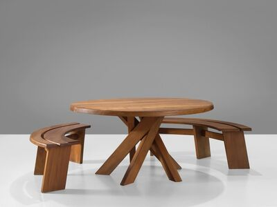 Pierre Chapo, 'Dining Set with 'Sfax' Round Table T21C and Benches S38A', 1960-1969